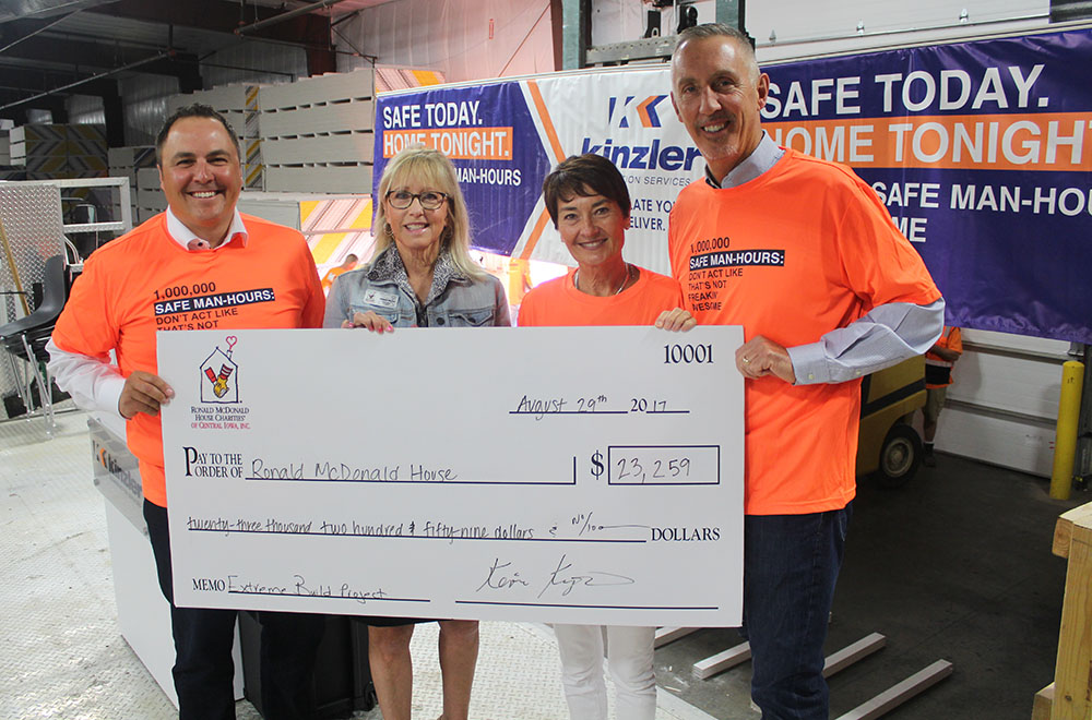 Kinzler Passes 1 Million Safe Man Hours Announces Charity Donation